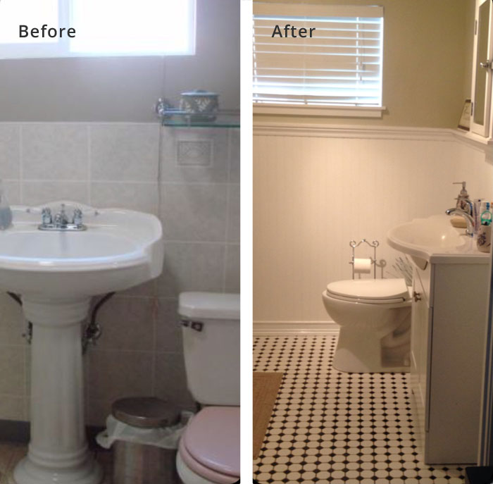 bathroom remodel, before and after
